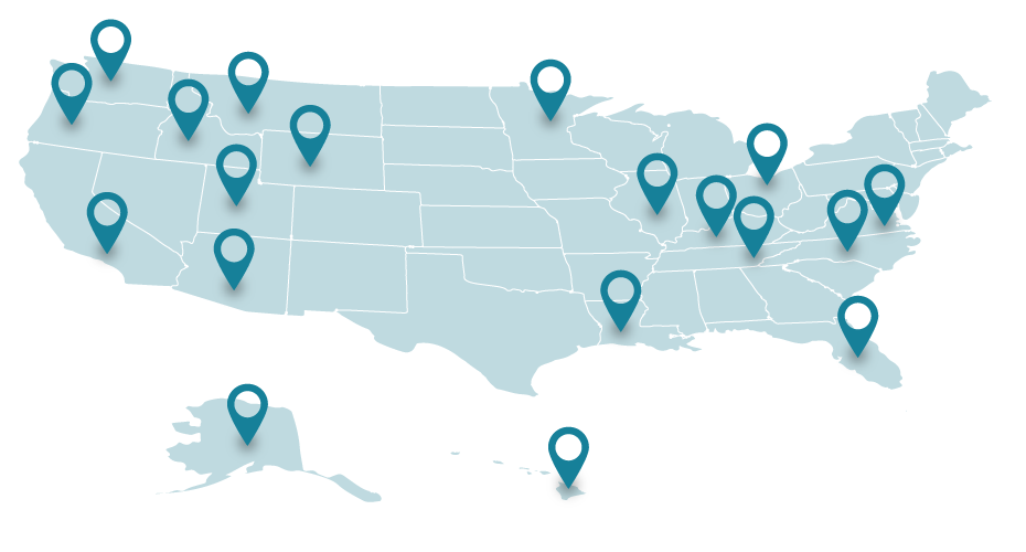 US map with location pins